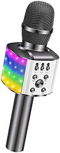 Microfono Senza Fili Wireless per Karaoke, BONAOK con luci LED Colorate Lampeggianti, 4 in...