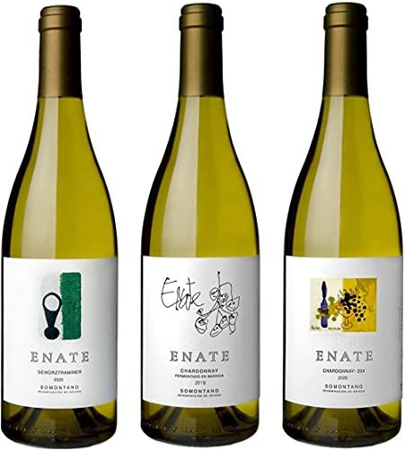 Bodega ENATE Estuche de Vino 3 Botellas de Vinos Blancos - Gewürztraminer 2020, Chardonnay Barrica 2019 y Chardonnay - 234 - Añada 2020 - D.O. Somontano - 3 Botellas de 75 cl - Selectas Varied
