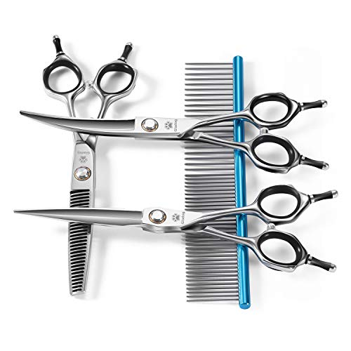 GLADOG Premium Dog Grooming Scissors Set, 4 in 1 Pet Grooming Scissors for dogs, Sharp and Durable, Upgraded Pet Grooming Shears for Dogs and Cat
