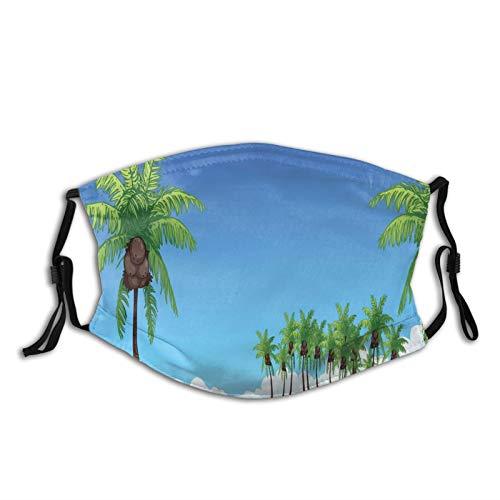 FULIYA Mascarillas faciales lavables reutilizables para mujeres y hombres, ilustración de muchas palmeras de coco en una isla lejos en el océano, 12 x 19 cm, tamaño mediano, unisex adulto
