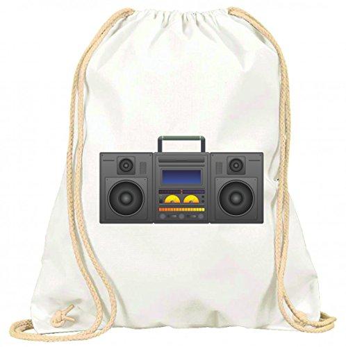 Druckerlebnis24 Turnbeutel Boombox- Ghetto Blaster- Audio Player- CD Spieler- Musik Player- Radio- BLÄSER- Stereo- Ghetto- Musik- Box- Retro mit Kordel - 100{e1da647527b77c5e9a53a64d2ceb03a2731043809950eed09ce66dc7eb15b501} Baumwolle- Gymbag- Rucksack- Sportbeutel