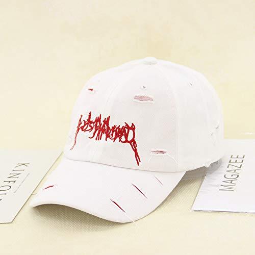 mlpnko Retro Alten Loch Stickerei Brief Kappe kreative Sonnenschirm Langen Gürtel Baseballmütze rot + weißer Hut einstellbar