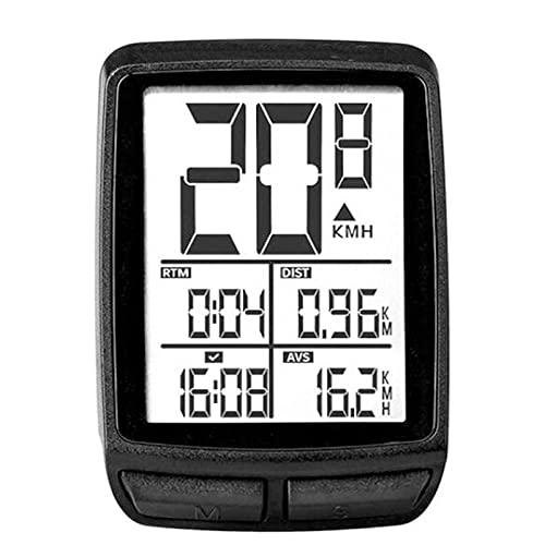 DSMGLSBB Computadora Sin Hilos De La Bicicleta, Odómetro del Velocímetro De La Bicicleta Computadora De Bicicleta De Tasa Digital LCD para Bicicleta De Ruta MTB,Blanco