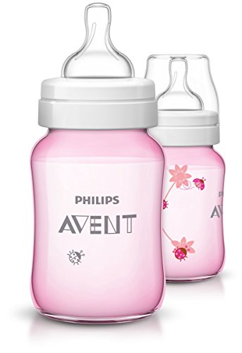 Philips Avent Klassik+ Babyflaschen 260 ml - 2er Pack (Farbe: Pink, Muster: Marienkäfer)