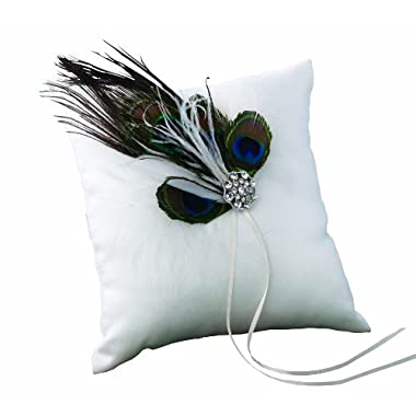 Ivy Lane Design Peacock Collection Ring Pillow, White