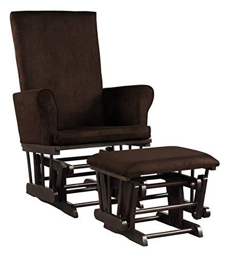 HomyDelight Rocking Chair, Baby Nursery Relax Rocker Rocking Chair Glider & Ottoman Set, Coffee