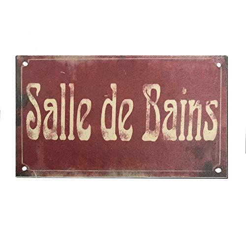 chemin_de_campagne Plaque de Porte Salle de Bain Fer Style Ancien Bordeaux Rectangulaire 12.50 cm