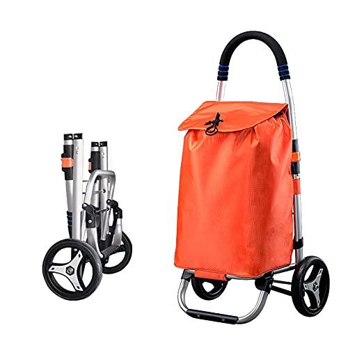 FVIWSJ Carrito Compras Plegable - Sistema 3 + 3 Ruedas - Ideal para Subir escaleras - Fabricado aleación Aluminio con Resistente Bolsa Impermeable,Naranja,2l
