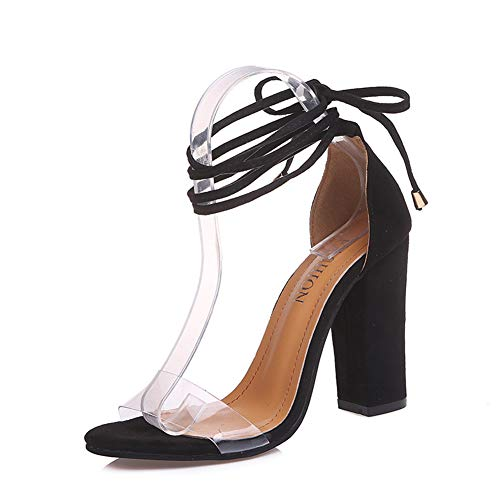 HTTEM Women's Gladiator Ankle Strap Lace Up Open Toe Clear Chunky High Heel Sandals Black