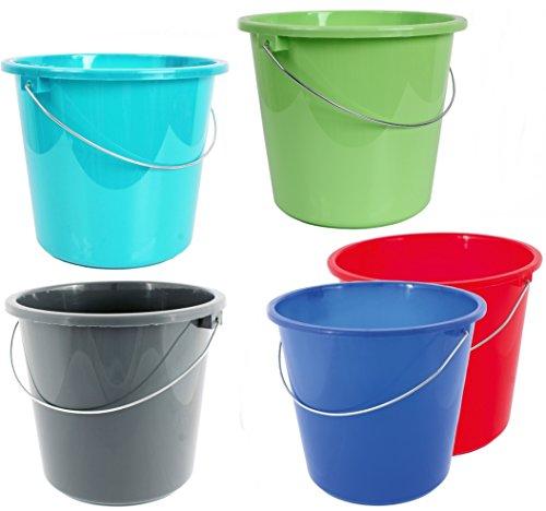 taschen-rucksack24 10 oder 5 Liter Eimer PUTZEIMER Plastik Kunststoff WASSEREIMER Lebensmittelecht HAUSHALTSEIMER Auswahl (Türkis, 5 Liter)