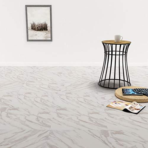 Festnight PVC Laminat Dielen Selbstklebend 5,11 m² Weißer Marmor Wasserfest Vinylboden Bodenbelag Designboden
