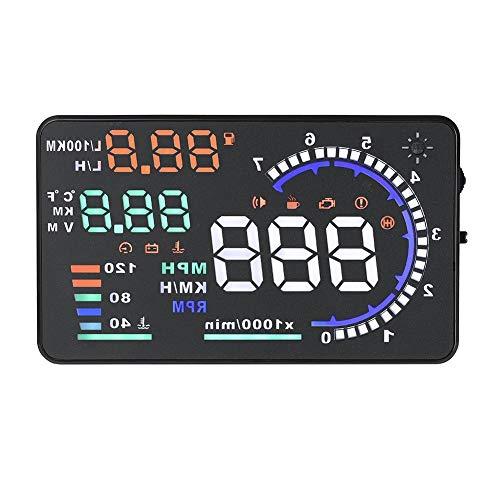 Qiilu Display Head Up per auto, A8 5,5 '' OBD II Display Head Up per auto HUD Display per velocità dello schermo riflettente spazzato dal vento automatico