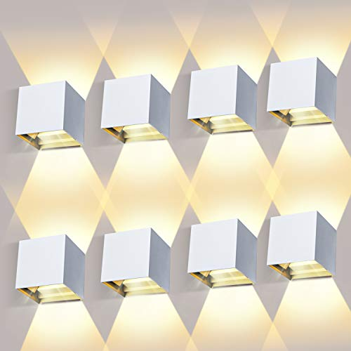 LEDMO 8 Piezas 12W LED Apliques de Pared Interior/Exterior,Aplique Pared Exterior Ángulo de Haz Ajustable 2700K-3000K Blanco Cálido Aplique Exterior Impermeable IP65 Aplique LED Blanco 🔥