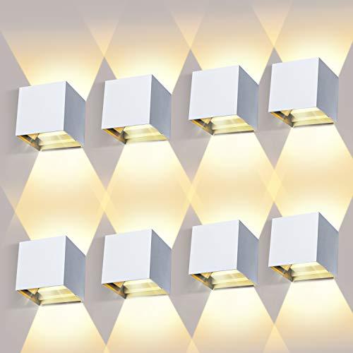 LEDMO 8 Pezzi 12W Lampada da Parete per Interni/Esterno LED Moderno 2700-3000K Bianco Caldo Lampada da Muro su e Giù Regolabile Design IP65 Impermeabile