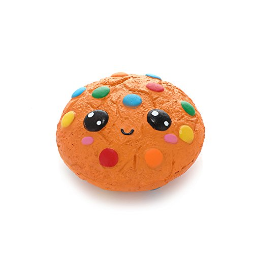 Anboor Squishies Chocolate Biscuit Emoji Kawaii Slow Steps Squeeze Toy Slow Rising Squishies Anti-Stress Toy for Kids Adults (11 * 11 * 5.5 cm, Sold as 1 Each