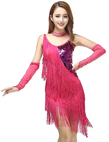 Grouptap Falda Latina Franja Borla de Lentejuelas Azul Falda de Baile Vestido de Competencia para Mujeres Salsa Tango Samba cha cha Rumba