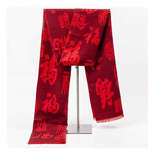 RJJX Home Bequem und schön Baumwolle Polyester roten Schal im chinesischen Stil Segen Schal des neuen Jahres Relocation Warm und komfortabel für alle Altersgruppen (Color : 04, Size : 33 * 180cm)