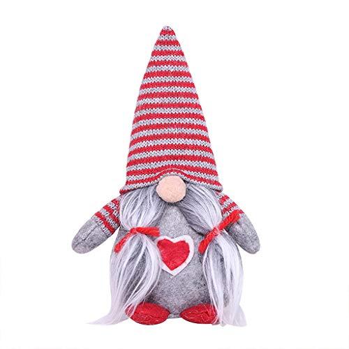 Janly Clearance Sale Sombrero de Navidad a rayas atado barba colgando piernas sin cara dol#AQ, decoración del hogar para el día de Pascua (gris)