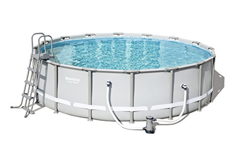 Bestway Power Steel Frame Pool Komplettset, rund, grau, 488 x 122 cm