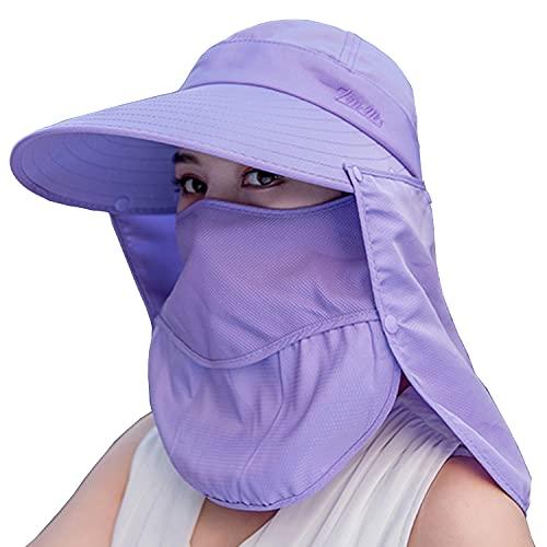 Sombreros de pesca para mujeres y hombres de ala ancha protección UV al aire libre verano tapas con cubierta facial y solapa para el cuello - morado - Medium