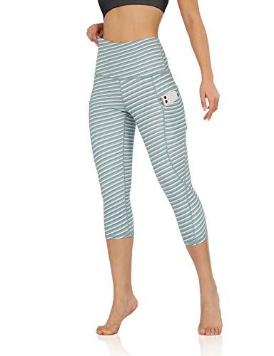ODODOS Women's High Waisted Pattern Pocket Capri Leggings, Yoga Workout Yoga Capris, SketchLine, Large