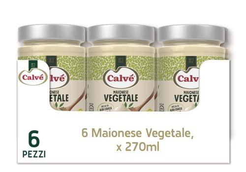 Calvè Maionese Vegetale ricca di Acidi Grassi Omega 3, Senza Glutine, Adatto per Vegani, 6 Pezzi da 270 ml