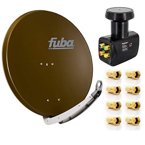 Fuba Digital Sat-Anlage DAA 850 B Satellitenschüssel Braun 85x85cm + PremiumX Quad LNB für 4 Teilnehmer + 8 F-Stecker - Komplett Set HDTV Full HD 4K tauglich + 8X F-Stecker