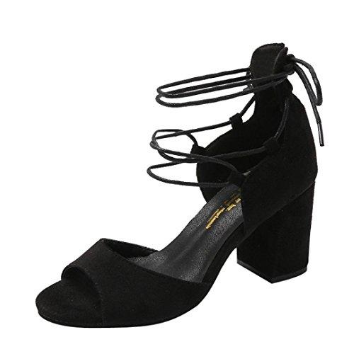 Covermason Zapatos Sandalias mujer verano 2018, boca de pescado de tacón alto para mujeres(37EU,Negro)