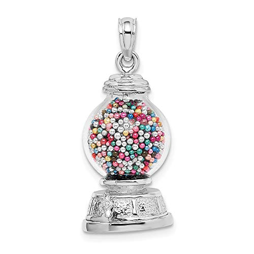 """14K White Gold Charm Necklace Pendant with 18"""" Length Chain, White 3-D Gumball Machine, Moveable"""