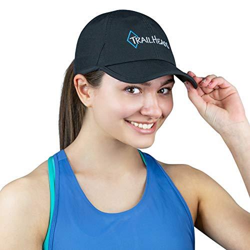TrailHeads Laufkappe mit UV-Schutz | Kappe Damen | Damen Cap |Schirmmütze Damen - Schwarz mit Logo