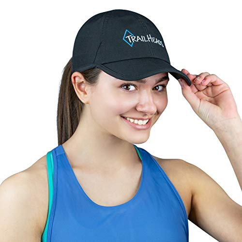 TrailHeads Women's Running Hat with UV Protection (Black w/Logo)