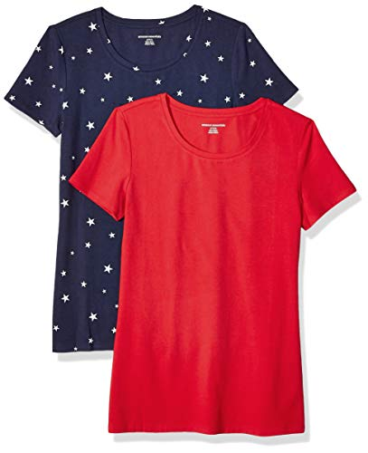 Amazon Essentials Women's 2-Pack Classic-Fit Short-Sleeve Crewneck T-Shirt, Navy Star/Red, M