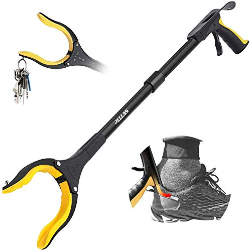 """Jellas Reacher Grabber Tool, 90° Rotating Head, 32"""" Foldable Claw Grabber with Shoehorn, Reaching Assist Tool for Trash Pick Up, Litter Picker, Arm Extension (Yellow)"""
