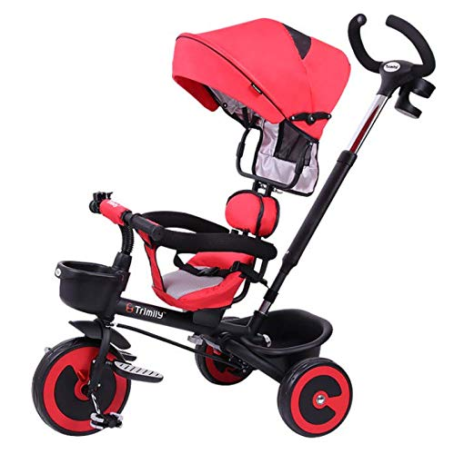 GHDE& kinderen 4 in 1 Trike kinderwagen met kinderwieltje voor kinderen met zonnedak, geheugen achteraan en afneembaar ouderhandvat