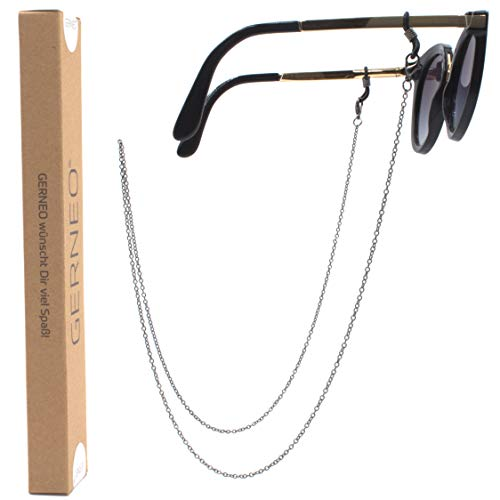 GERNEO - DAS ORIGINAL - Premium Brillenkette & Brillenband in diversen Farben - 925er versilbert in schwarz - Unisex für Lesebrille & Sonnenbrille - Kollektion 2020