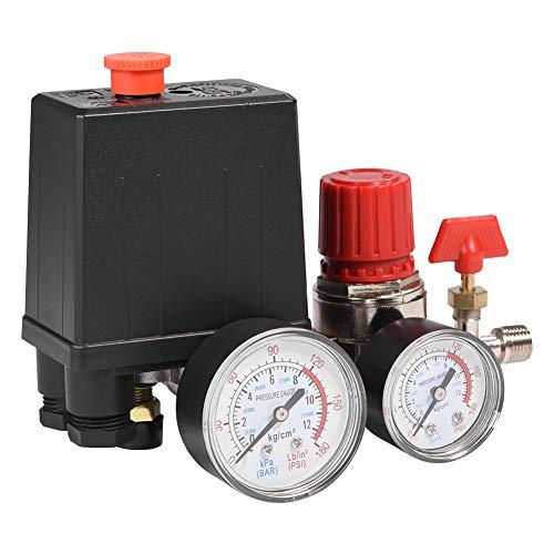 Kompressor Druckschalter, Luftkompressor Druckventil Schaltregler mit Anzeigen für schnelle Druckreduzierung, Anschluss 2-G1/4