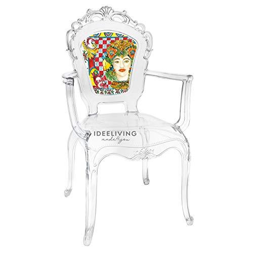 Sessel aus Polycarbonat mit Armlehnen Kollektion Baroque & Rock Sicily von Baci Milano - Dame rot 1