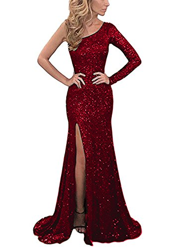 YSMei Women's One Shoulder Sequins Evening Celebrity Dresses Formal Prom Gowns Burgundy 26W