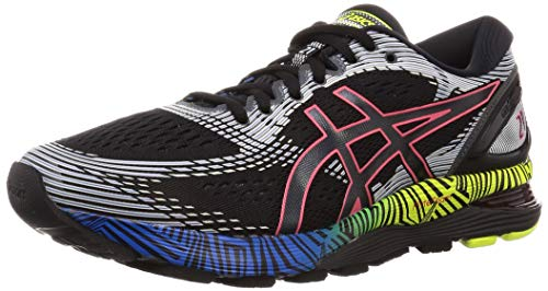 Asics Gel-Nimbus 21 LS, Zapatillas de Running para Hombre, Negro (Black/Electric Blue 001), 42.5 EU