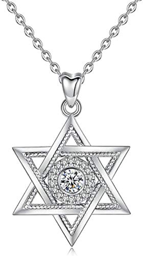PPQKKYD Necklace 925 Sterling Silver Star of David and Cubic Zirconia Pendant Necklace Modern Exquisite Hexagonal Cz Jewelry as Annive