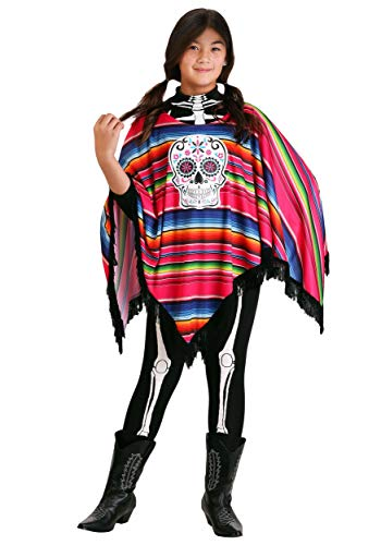 Girl's Day of the Dead Poncho Costume X-Large