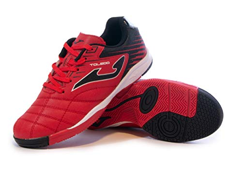 Joma Kids' Toledo Jr ID Indoor Soccer Shoes (6 Big Kid, Red/Black)