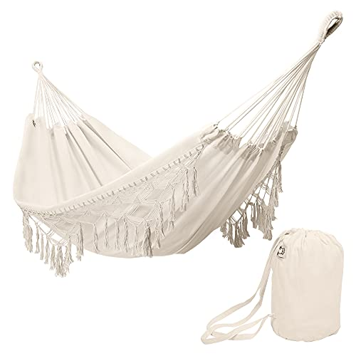 ONCLOUD Boho Large Brazilian Fringed Macramé Double Deluxe Hammock Swing Bed with Carry Bag for...