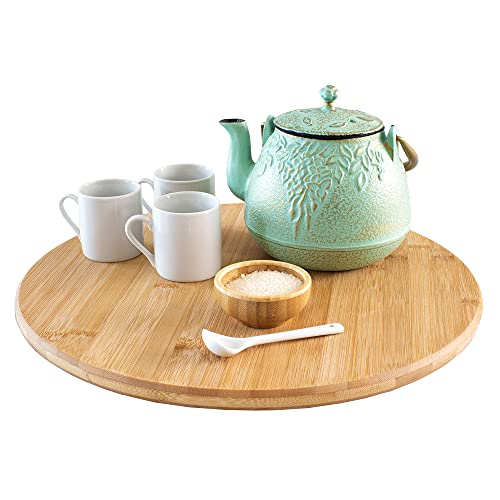 TB Home 14  Bamboo Lazy Susan Kitchen Turntable for Pantry Cabinet or Table