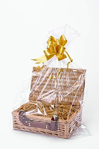 Create Your Own Wicker Gift Hamper Basket Kit Use, Christening, Wedding, Baby Shower or Birthday Gift (Includes cellophane, Ribbons, Shredded Paper and a Basket) - 34 x 21 x 11cm