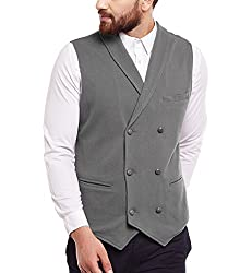 Hypernation Grey Color Cotton Double Breast Waistcoat For Men