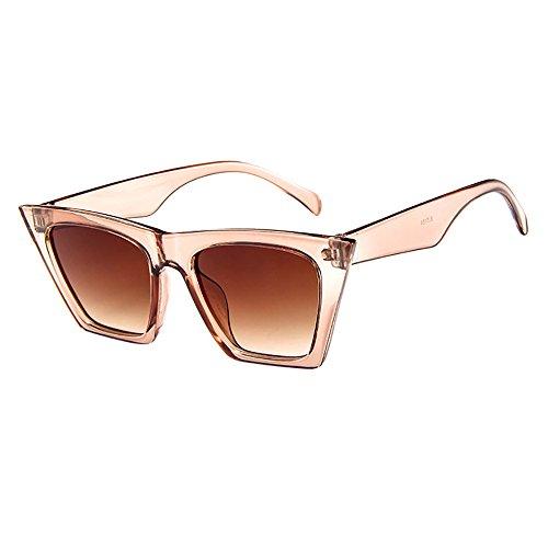 Mode Damen Oversized Übergroße Sonnenbrille Vintage Retro Mode Katzenauge Brille Sonnenbrille Damenbrillen Frauen Cat Eye Sunglasses Sonnenbrille (Beige)