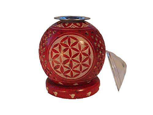Räucherstövchen - Duftlampe Blume des Lebens aus Speckstein rot incl. Sieb und Glasschale