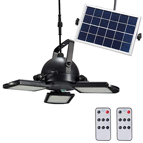 Solar Light Indoor&Outdoor with Remote Control,3-Leaf 60Leds Garage/Shed/Barn/Ceiling/Pendant Light for Home, Garden,Yard,Patio,Landscape (Solar Powered)
