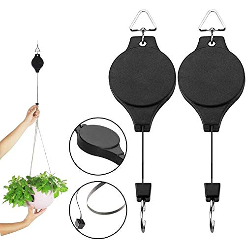 KF Plant Pulley 2 Pack Retractable Hanging Baskets Adjustable Hanging Basket Hooks for Plants and Birds Feeder - Black